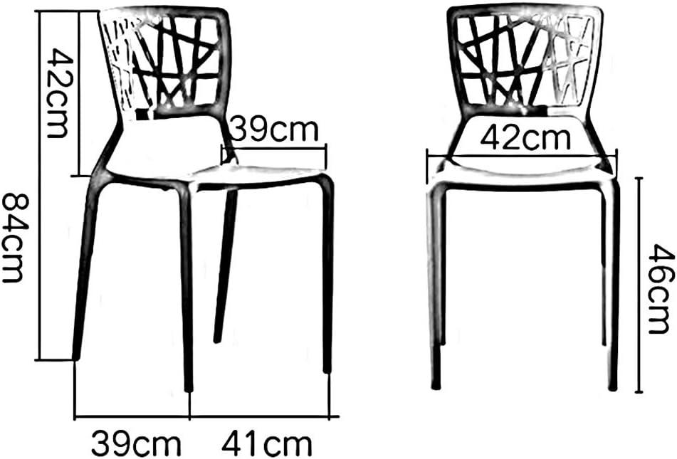 RENJUN Chaise de Salle à Manger empilable Chaise latérale en Plastique Cour intérieure Sac de Chaise de Bureau Ensemble de 2 Chaise de réunion (Color : Black) Black