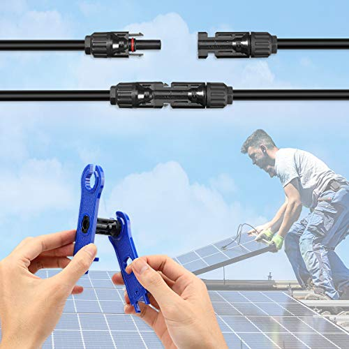 BougeRV 44PCS Solar Connector with Spanners IP67 Waterproof Solar Panel Cable Connectors Male/Female 22Pairs