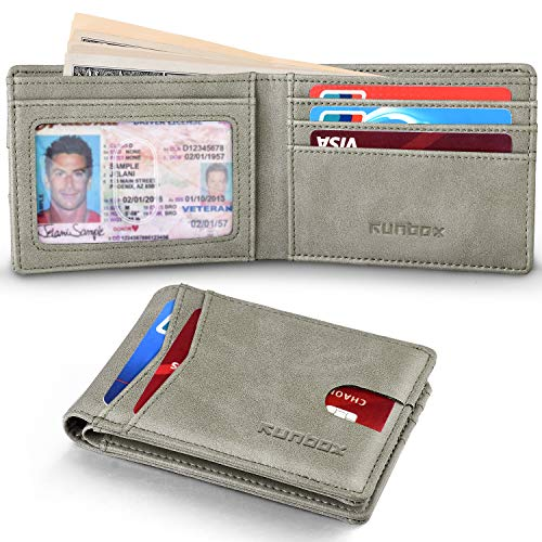 RUNBOX Slim Wallets for Men with RFID Blocking & Minimalist Mens Front Pocket Wallet Leather(grey)