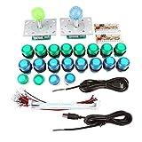 20 DIY LED beleuchtet Arcade Spiel Tasten + 2 Arcade Joysticks + 2 USB Encoder Kit Spiel Teile Set...