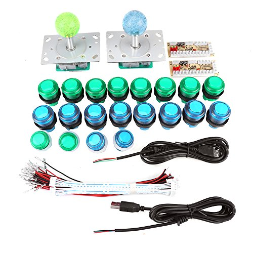 20 DIY LED verlichte Arcade speltoetsen + 2 Arcade Joysticks + 2 USB Encoder Kit Spelonderdelen, set voor Arcade-games, machines en andere PC fighting Games.