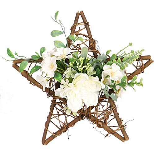 CHUTD Artificial Camellia Wreaths Wood Pentagram Garland Christmas Door Party Home Decoration