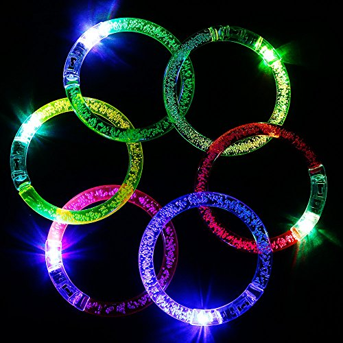 GOLDGE LED Armband Armreif Leuchtarmbänder 6 Stück blau/ pink/ gelb/ grün/ weiß/ lila