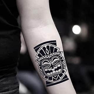 Tiki Temporary Tattoo Fake Tattoo Sticker (Set of 2) - www.ohmytat.com