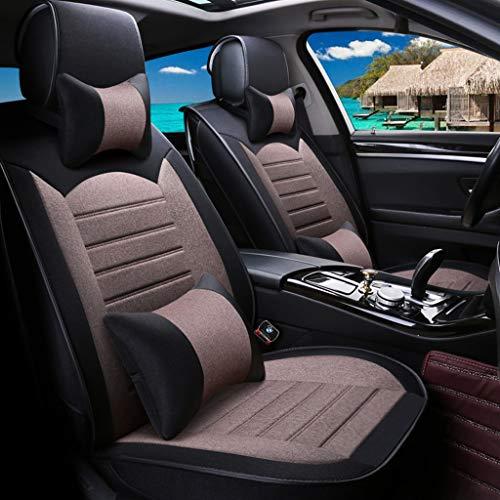Luxe autostoelhoes, 5-zits auto universeel linnen volledige set van vier seizoenen pad compatibel met airbag kussen Black gamma