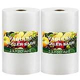 2021 Newest Vacuum Sealer Bags 11x50 Rolls for 2-Pack BPA Free Vacuum Seal Roll Vacuum Sealer Bags Rolls 11 Inch Vacuum Sealer Machine Bags Food Vacuum Sealers Fresh Saver Vacuum Bags Vacuum Seal Bags for Food Vaccum Sealed Bags Storage(Total 100 Feet)