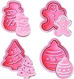 Cortador de galletas de Navidad, 4 piezas de cortador de galletas con resorte, cortador de mango de árbol de Navidad, muñeco de nieve y pan de jengibre para repostería y repostería