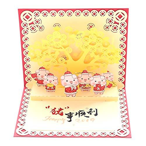 GuanjunLI 3D-Glückwunschkarte 2019, zum Geburtstag des Schweins, englische Aufschrift, englischsprachige Aufschrift, englischsprachige Aufschrift, Geschenk, 1 Stück