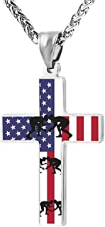 American Flag Wrestling Fashion Printed Cross Necklace Cross Prayer Christ Necklace Pendant 24 Inch Crucifix Pray Ornaments Unisex