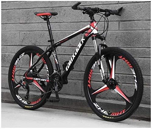 QZMJJ Bicicleta de montaña, de montaña, de montaña, de acero al carbono, de 26 pulgadas, unisex, suspensión de suspensión de acero al carbono, doble freno de disco