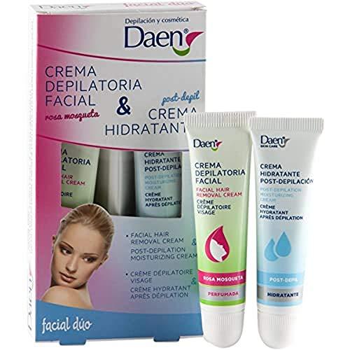 Daen Crema facial para depilación y post hidratante, paquete de 2