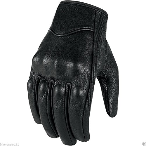 Short Black Leather Harley Style Cruiser Gloves Thermal with Hipora Waterproof Liner (XL)