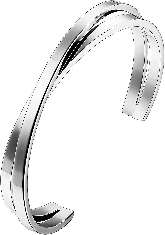 JIANGYUE Simple Polished Stainless Steel Z Shaped Open Cuff Bracelet for Women Men Adjustable Cuff Bangle Bracelet Jewelry Gift