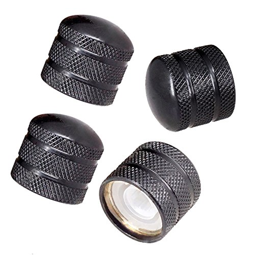 JD Electric Guitar Bass Dome Knobs Metal Volume Tone Control Knobs Turn Buttons O-Ring Pack of 4 (Black)