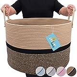 OrganiHaus XXL Extra Large Cotton Rope Basket | 20'x13.5' Nursery Storage Basket with Long Handles | Living Room Blanket Organizer Basket | Brown and Black
