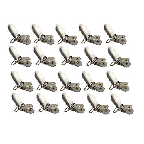Acoser metalen fopspeen clips met ronde inzetstukken, ideaal voor fopspeen bretels, slabbetjes of speelgoedhouder (20)