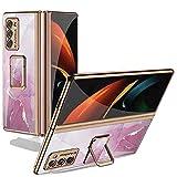 XJZ Compatibile con Samsung Galaxy Z Fold 2-5G Smartphone Cover(2020)+3D Pellicola Protettiva in Vetro Temperato/Custodia 360 Gradi Tutto Corpo Antiurto Cassa Case Protezione Cover con Supporto-3