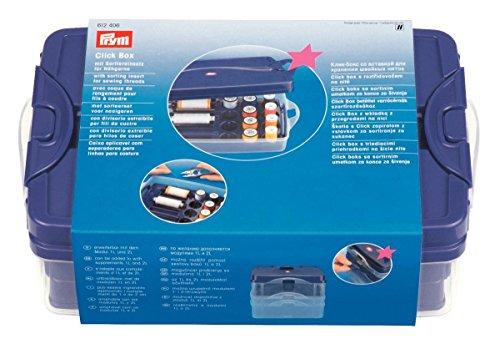 Prym Click Box mit Sortiereinsatz für Nähgarne, Kunststoff, transparent, 24 x 16,5 x 8 cm