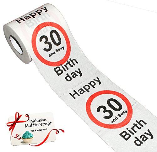 alles-meine.de GmbH 1 Rolle _ Toilettenpapier -  30. Geburtstag / dreißig und Sexy - Happy Birthday  - 28 m - Verkehrsschild - WC Klopapier Klopapier - lustig Klorolle große Ro..