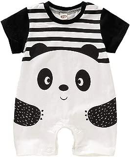FELZ Beb/é Mono,Verano Verano Mameluco de Manga Corta Estampado Panda a Rayas Mono Conjuntos Moda Linda Fiesta De Cumplea/ños Regalo Verano Pijamas Bebe ni/ña ni/ño