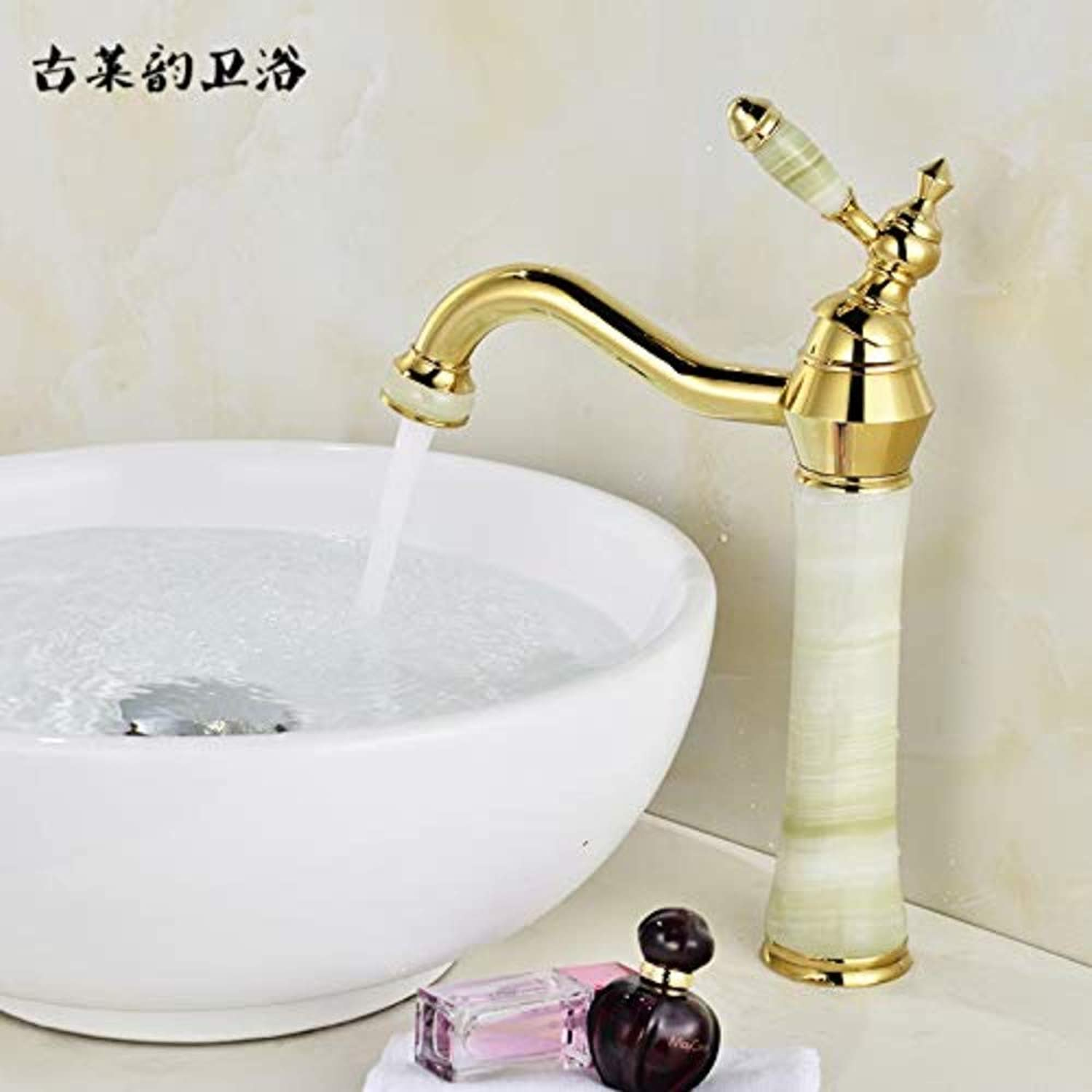Water Tapfaucet Taps Heightening Faucet Full Copper gold Basin Washbasin Hot and Cold Faucet Natural Jade Above Counter Basin Faucet, Sapphire Plus High Pagoda [360 Degree redation]