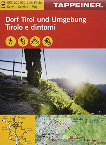Wanderkarte Dorf Tirol und Umgebung: Cartina escursionistica Tirolo e dintorni (Kombinierte Sommer-Wanderkarten Südtirol / Topografische Karte + 3D-Panoramakarte)