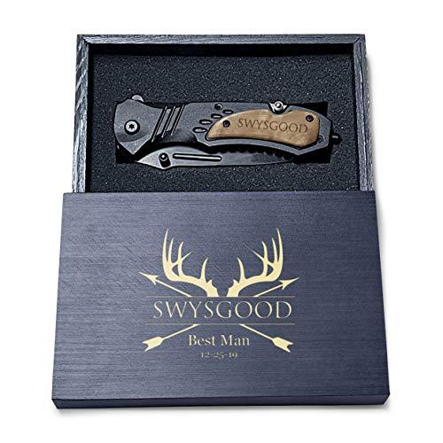 Deer Antlers Design Engraved Pocket Knife, 4.5' Folding Pocket Knife For Men with wooden black box, Laser Engraved Personalized Pocket Knife For Men, Hunting Knife, Custom Knife For Men