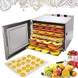 Hopekings Deshidratador de Alimentos Acero Inoxidable, 6 Bandejas, Temperatura Ajustable 35-75 ° C, Temporizador de 12 Horas, Secador de Frutas y Verduras 600W