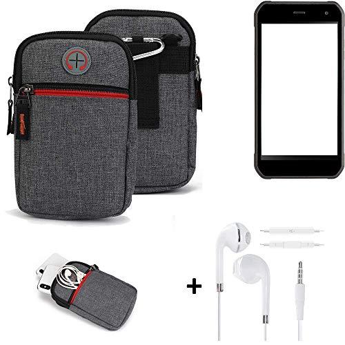 K-S-Trade® Gürtel-Tasche + Kopfhörer Für -Cyrus CS 40- Handy-Tasche Schutz-hülle Grau Zusatzfächer 1x