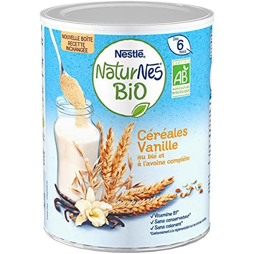 NESTLE Bébé - Naturnes BIO - Céréales Vanille au blé et à l avoine complète - Dès 6 mois - Boîte 240g