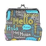 Monedero de piel con diseño de Hello en diferentes idiomas