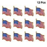VALICLUD 12Pcs Bandiera Americana Spilla USA Sventolando Bandiera Smalto Spilla Giorno Dell'indipendenza Distintivo Patriottico Vestire Oggetti di Scena Arredamento
