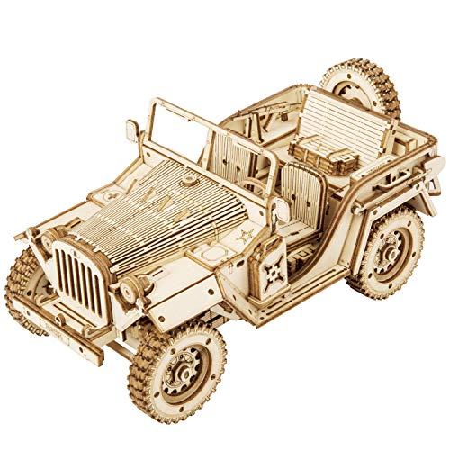 ROBOTIME Jeep Army Cars Toys 3D Puzzle Model Kits Self Assembly Wood Building Mechanical Construciton Craft for Kids, Teens and Adults