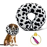 Pet Recovery Collar, Soft Dog Cone after Surgery, Inflatable Cone for Dogs and Cat, Black and White Cow Spot Dog Donut Collar, Wound Healing Adjustable E Collars, Cone for Dogs after Surgery