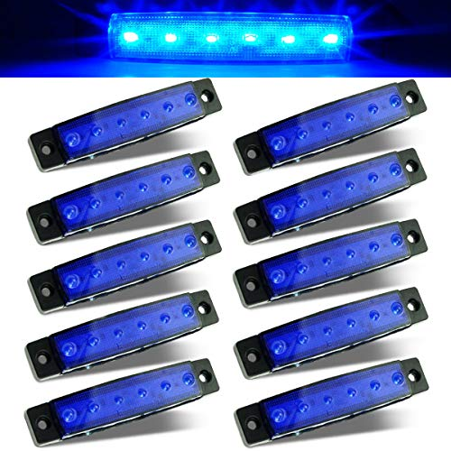 """Leadrise 3.8""""10 Pcs 6 LED Blue Boat Deck Courtesy Light Side Trailer Marker Lights Sealed 12V Thin Line Led Cab Marker for Waterproof Boat Navigation Kayak Light Truck Bus Trailer Light Lamp"""