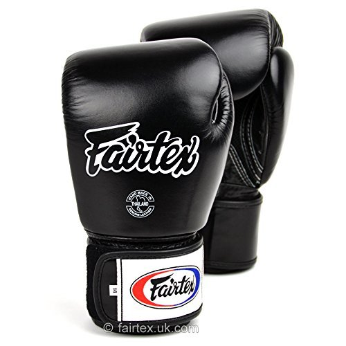 Fairtex negro transpirable guantes de boxeo, negro