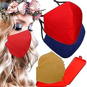 Cussi – Maschera in tessuto igienico riutilizzabile omologata UNE 0065:20 e certificato BFE 99%, lavabile fino a 20 cicli-pack 2 mascherine, astuccio, filtri extra (rosso, blu navy)