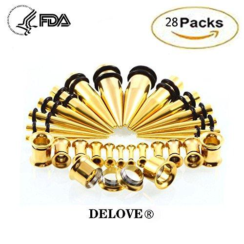 DELOVE Europe Andthe United States - Kit de expansión de oreja de acero inoxidable, 2 mm - 10 mm - 28 juegos de pendientes con rosca cónica, color amarillo