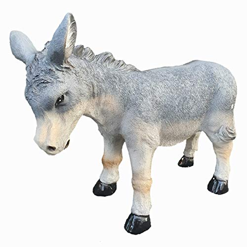 Aspinaworld Grauer Esel, 41 cm, wetterfeste Gartenfigur aus Kunstharz, Bauernhof Deko
