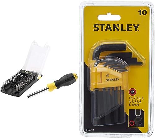 Stanley Stht0-70885 Giravite Porta Inserti Multibit 34Pz & 0-69-253 Set 10 Chiavi Esagonali Maschio (Brugola)
