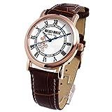 ディズニー 腕時計 ノーブル ミッキー 腕時計 Disney ブラウンベルト×ホワイト文字盤 本牛革 クロコ型押しベルト スワロフスキー 第二の ダイヤモンド 大人ディズニー コラボ [並行輸入品]