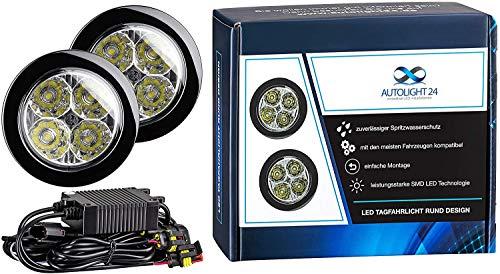 AUTOLIGHT 24 I LED Tagfahrlicht 8 SMD rund Ø70-90mm E-Prüfzeichen R87 6000 Kelvin E4
