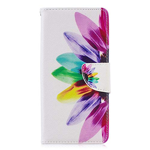 6City8Ni Coque pour Étui Bookstyle Folio en Cuir Ultra Slim Flip Magnétique Housse Wallet Protection 3D Flower Cartoon Protection Carte Crédit Portefeuille TPU Silicone Cover pour Samsung A7 2018
