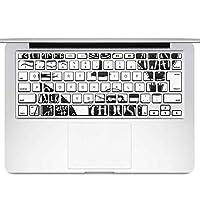 igsticker MacBook Air 13inch 2010 ~ 2017 専用 キーボード用スキンシール キートップ ステッカー A1466 A1369 Apple マックブック エア ノートパソコン アクセサリー 保護 016130 英語 モノクロ