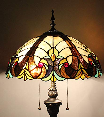 Gweat Tiffany Lampe de Sol créative Classique de Luxe de Salle de séjour de Verre souillé de Perle de Baroque Simple de 16 Pouces
