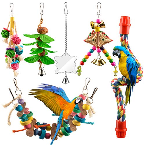 AOPMET Bird Swing Toys 6pcs, Parrot Swing Chewing Toys Hanging Perches with Bells, Pet Bird Swing Chewing Toys for Parakeets Cockatiels, Conures, Parrots, Love Birds