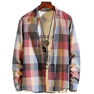 RedSチェクシャツ メンズ 長袖 シャツ カジュアル ギンガムチェック shirt ネルシャツ (2.レッド, 3XL)