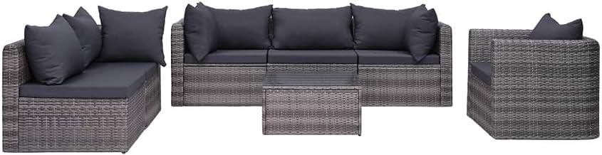 vidaXL 7 Piece Garden Sofa Set with Cushions & Pillows Outdoor Patio Backyard Couch Lounge Seat Furniture Poly Rattan Grey