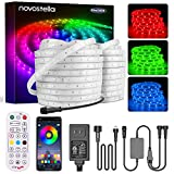 Novostella 105ft (52.5x2) Smart LED Outdoor Rope Light, Music Sync RGB Strip Lights, App Control and RF Remote Color Changing Dimmable Tape Exterior Lighting Kit, for Garden Stairs Party, 24V IP65