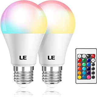 LE Color Changing Light Bulbs with Remote, Dimmable LED Light Bulb, E26 Screw Base, RGB & Soft Warm White, 40 Watt Equivalent, 16 Color Choices for Home Decor, Stage, Party and More, Pack of 2